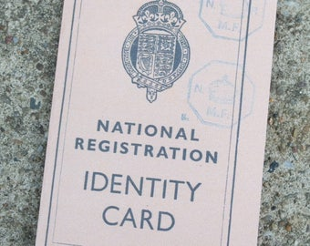British 1940's WW2 Reproduction Adults and Children Identity Card ~ 1939-1943