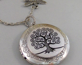 Woodland Dragonfly,Locket,Dragonfly,Silver Dragonfly Locket,Tree,Family,,Antiqued,Charm,Necklace,Pendant. jewelery by Valleygirldesigns.