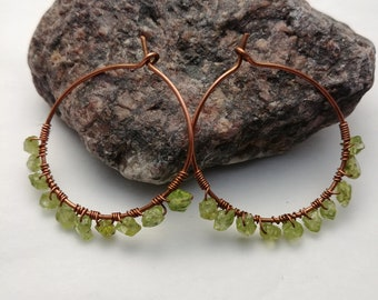 Copper Hoop Earrings with Peridot