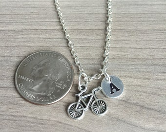 KIDS SIZE -Bicycle Initial necklace, Cycling jewelry, gift for biker, Cycle Jewelry, cycle necklace, spin class necklace,Mountain Biking