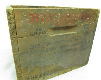 Vintage Winchester Ammo Box, Wood Box, Vintage Crate, Wooden Crate, Vintage Wood Box, Weapons Crate,