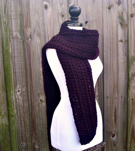Womens Oversized Crochet Chunky Scarf - New Englander Eggplant Purple Scarf - Womens Accessories Warm Winter Scarf - 34 Color Choices