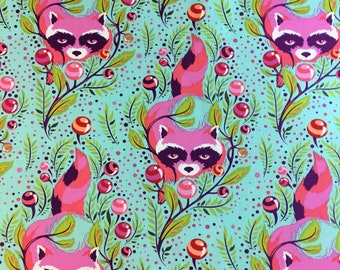 Raccoon by Tula Pink in Turquoise