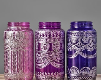 Set Of Three Cobalt Blue Glass Mason Jar Vases Painted Mason