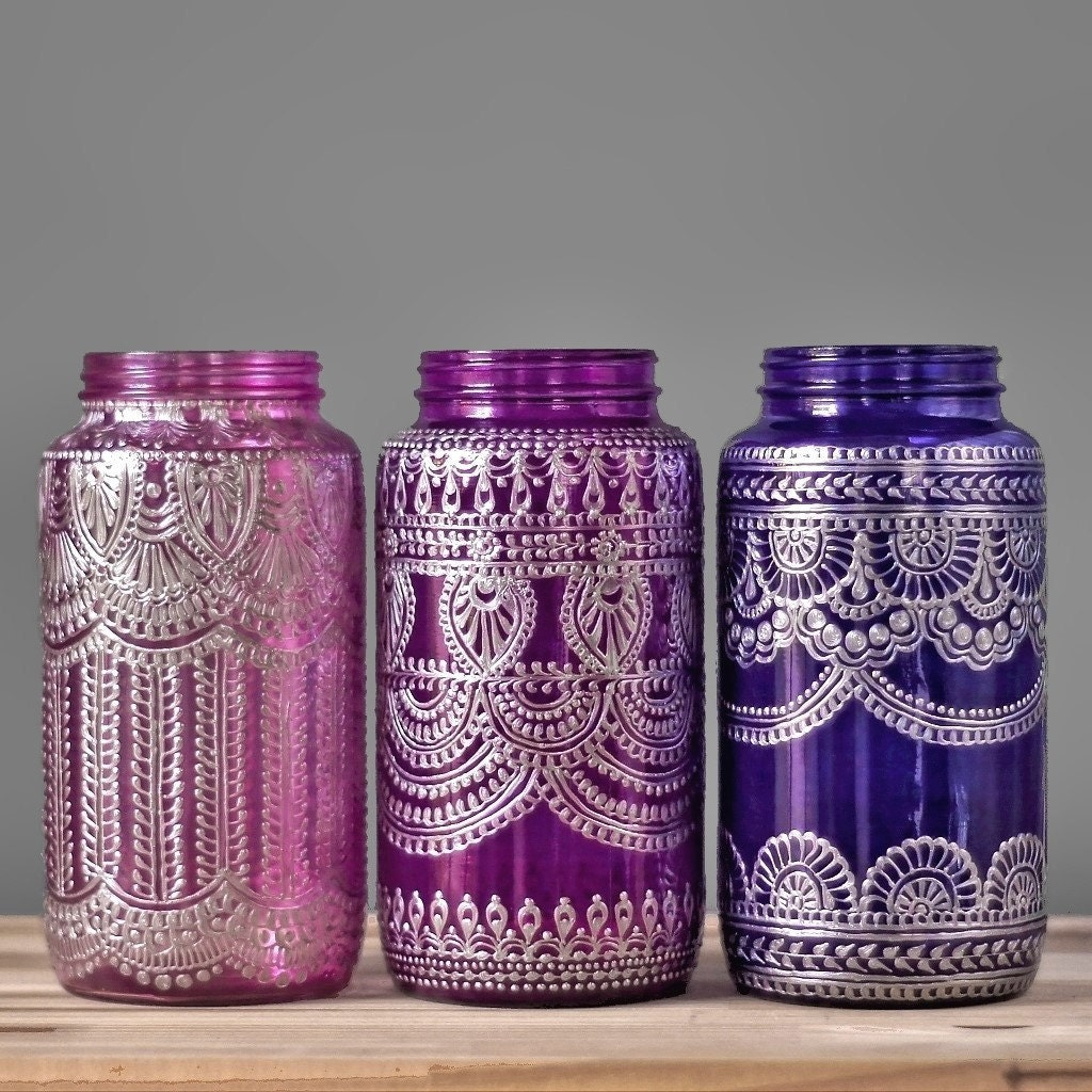 Painted mason jar vase moroccan home decor tabletop decor zoom reviewsmspy