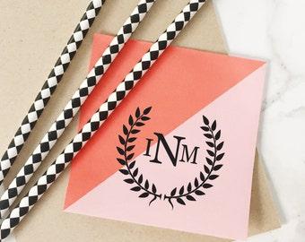 Wedding Stamp, Initial Stamp, Wedding Favor Stamp, Thank You Stamp, Rubber Stamp, Wedding Initial Stamp, Monogram Wedding Stamp Style No. 7W