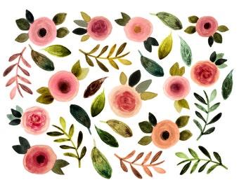 Floral clipart, watercolor flowers clipart, spring clipart, wedding clipart, wedding invites, roses clipart