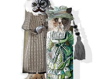 Last Minute downloadable gift Bookmark  Steampunk victorian Kittens original illustrations scrapbook supply