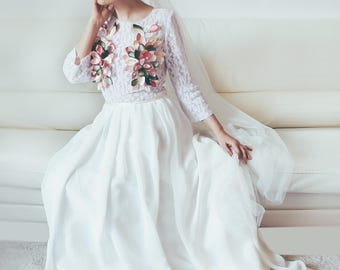 boho wedding dress long sleeve wedding dress, lace wedding dress, separate wedding dress, romantic wedding dress, wedding dress gypsy dress