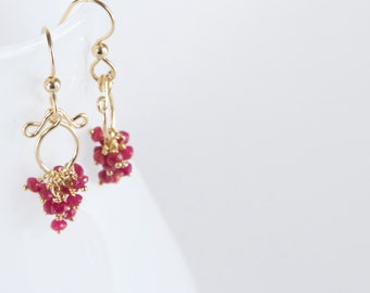 Meredith - Ruby, 14k Gold Filled Earrings || Red Earrings || Red Dangly Earrings || July Birthstone Earrings
