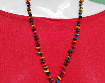 Multi-color Bead with Blue Pendant Necklace