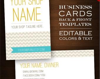 Custom Business Card Design Set- 2-Sided Minimal Chevron DIY Template Business Card Set - Retro Geometric ZigZag Aqua Customizable