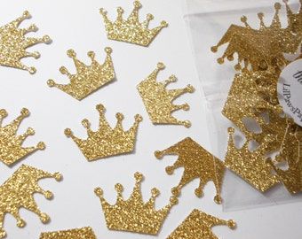 Princess Crown Confetti, Princess Party Decorations, Gold Glitter Crown Confetti, Gold or Silver, 50 CT., Ships in 2-3 Business Days