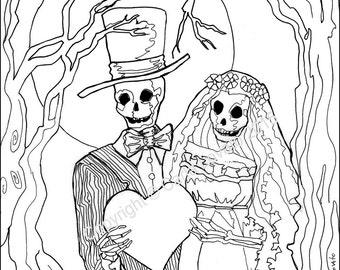 coloring pages, Skeleton Wedding, Color Page, Day of the Dead, digital downloaded, digital color page, adult coloring, Skeleton Bride