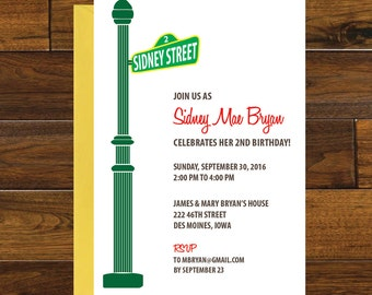 Sesame Street Birthday Invitation, Digital Download