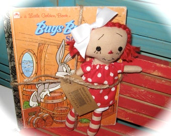 "Tiny 8"" Red Head Raggedy Ann-Raggedy Annie-Doll  and BUGS Bunny Little Golden Book Set"