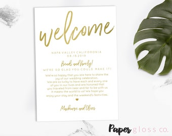 GOLD Wedding Welcome Bag Note, Welcome Bag Letter, Printable Wedding Itinerary, Gold Wedding,5x7, Instant Download, Calligraphy,