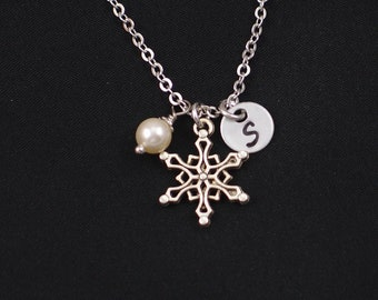 snowflake necklace, sterling silver filled, initial necklace, Swarovski pearl choice, silver snowflake charm on silver chain, bridesmaid