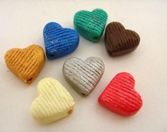 10 Tiny Ceramic Heart Beads - Mixed