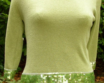 Now 20% off SPARKLY HOLIDAY TOP, blouse, green, sequins, Vintage, party style