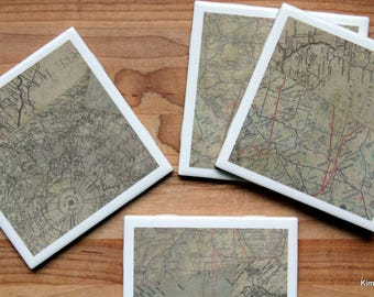 Coasters for Drinks - Coasters Tile - Map Coasters - Handmade Coasters - Coasters - Drink Coasters - Tile Coasters - Ceramic Coasters