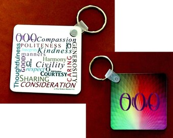 Keyrng, inspirational message, collage pattern, civilitywords   Style KY4