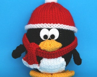 Wintery Christmas Penguin - INSTANT DOWNLOAD PDF Knitting Pattern