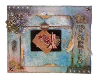 "Handmade 16"" x 20"" Shabby chic Altered Canvas. Mixed Media art. Wall Decor. French theme, Paris, Eiffel Tower, Blue, Pink, Vintage Ephemera"