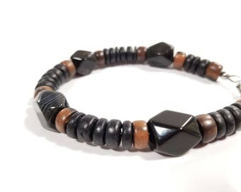 LIMITED RUN - Men's wooden bracelet - made from eco-friendly coconut shell - Black Agate