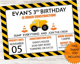 Construction Truck Invitation Invite Birthday Party Kids 5x7 Digital Personalized