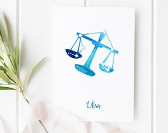 Zodiac Art LIBRA Printable   Minimalist Poster & A5 Greeting Card, Watercolor Constellation Greeting Cards, Horoscope Birthday Illustration