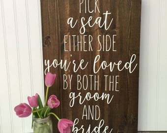 rustic wedding seating sign, today two families, pick a seat not a side sign, rustic wedding decor, ceremony decor, wedding signs