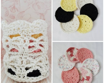 Crochet Basket and 12 Facial Scrubbies - Make-Up Removers - Spa Basket - Facial Scrubbies - Cotton Pads - Cleansing Pads - Ready to Ship