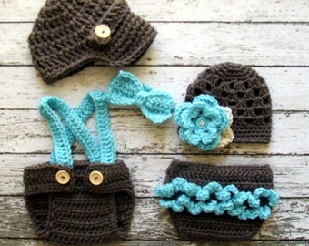Vintage Twin Photography Prop Set in Taupe, Aqua and Wheat Available in 4 Sizes- MADE TO ORDER
