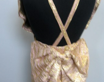 """Stunning 1 - of - a - kind backless pink and gold brocade gown with """"obi"""" bow in back"""
