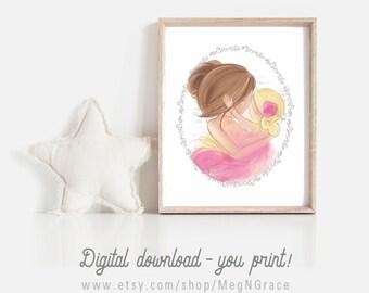 DIGITAL DOWNLOAD You Print Mother Daughter Nursery Gift Wall Art Set of 2 Printable Instant Download Designs Meg