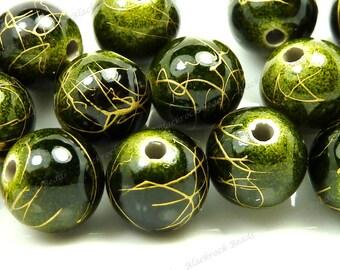 10mm Dark Green and Metallic Gold Swirl Round Acrylic Beads - 20pcs - BK25