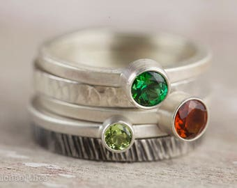 Stacking rings in custom colors/gemstones, stackers, mothers, grandmothers, birthstone, bespoke, handmade