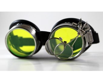 """Victorian Steampunk, Mad Scientist goggles, """"Dr. Jekyll"""" XIV Green UV Reactive Lenses"""