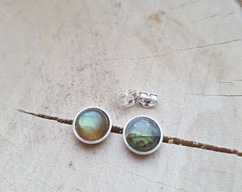 Labradorite earrings Sterling Silver Labradorite Studs Sterling Silver Earrings Labradorite Jewelry