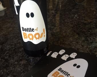 Halloween Wine Labels, Bottle of Boos Wine labels, Bottle of Boo's Halloween Favors, Personalized wine labels.  Set of 10