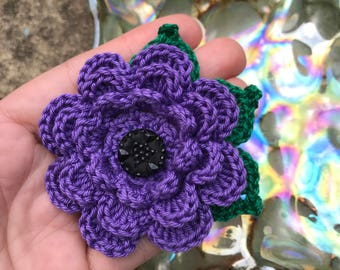 Purple hand crochet flower brooch,purple,handmade,corsage,wedding,gift idea,safety pin back,gift for her