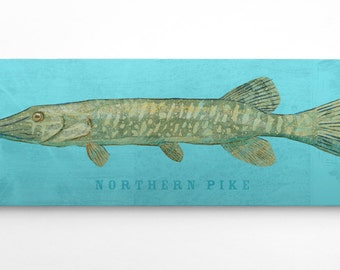 Outdoor Gift, Fishing Gifts for Men, Fisherman, Gift Ideas for Fishermen, Northern Pike Art Block,  Northern Pike Print, Fish Wall Decor