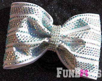 BEAUTIFUL New Design tailless glitter   LED Light up Glo Bow with AB  Rhinestones  by FunBows !