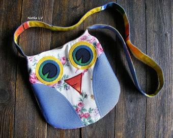Girl's bag, owl bag, kids summer bag, toddler fabric bag, children's cross body bag, 3 - 6 years girl shoulder bag, handmade, frower owl bag