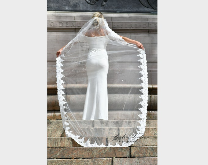Cathedral Lace Wedding Veil, Beaded Cathedral Bridal Veil, Multiple Lengths and Colors, Customized Wedding Veil SC-07