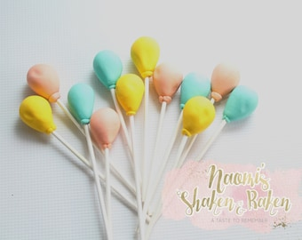 12x Balloons Birthday Fondant Cake Topper Edible