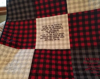 Baby quilt , done in buffalo print, red grey, and black,with embroidery, can be personalized.