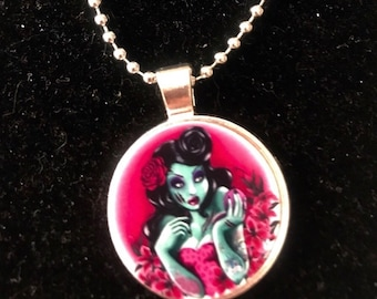 Zombie Pin Up Necklace on Stainless Ball chain