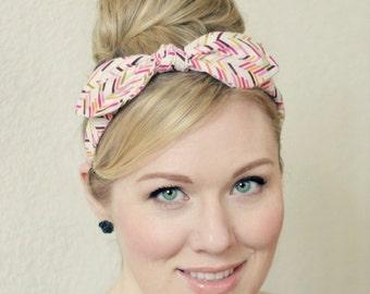 Pink Bow Headband - Wired Retro Herringbone Pattern